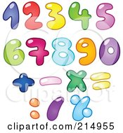Royalty Free RF Clipart Illustration Of A Digital Collage Of Colorful Bubbly Numbers And Symbols by yayayoyo