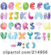 Royalty Free RF Clipart Illustration Of A Digital Collage Of Colorful Bubbly Letters And Symbols by yayayoyo