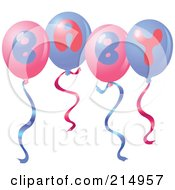 Royalty Free RF Clipart Illustration Of A Group Of Pink And Purple Baby Balloons by yayayoyo