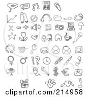 Royalty Free RF Clipart Illustration Of A Digital Collage Of Black And White Doodled Icons by yayayoyo