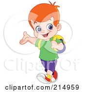 Royalty Free RF Clipart Illustration Of A Cute School Boy Walking With A Backpack by yayayoyo