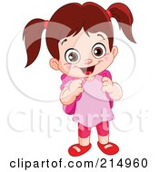 Royalty Free RF Clipart Illustration Of A Cute School Girl In A Pink Shirt With A Backpack by yayayoyo