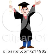 Royalty Free RF Clipart Illustration Of A Happy Young Graduating Boy In A Black Cap And Gown