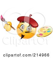 Royalty Free RF Clipart Illustration Of An Artist Emoticon Painting And Holding A Palette