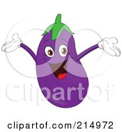 Happy Eggplant Character Holding His Arms Up