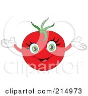 Happy Tomato Character Holding His Arms Up