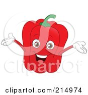 Happy Red Bell Pepper Character Holding His Arms Up
