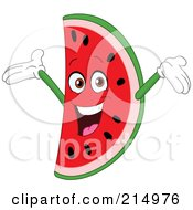 Happy Watermelon Character Holding His Arms Up