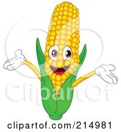 Royalty Free RF Clipart Illustration Of A Happy Corn Character Holding His Arms Up by yayayoyo