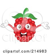 Royalty Free RF Clipart Illustration Of A Happy Raspberry Character Holding His Arms Up by yayayoyo