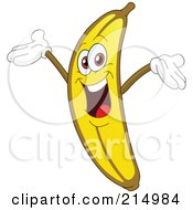 Happy Banana Character Holding His Arms Up