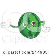 Royalty Free RF Clipart Illustration Of A Happy Watermelon Character Presenting