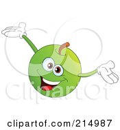 Happy Green Apple Character Holding His Arms Up