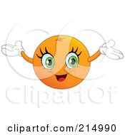 Royalty Free RF Clipart Illustration Of A Happy Orange Character Holding His Arms Up by yayayoyo