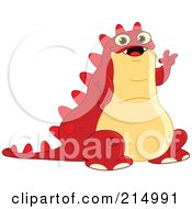 Royalty Free RF Clipart Illustration Of A Chubby Red Monster Sitting And Waving by yayayoyo