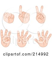 Royalty Free RF Clipart Illustration Of A Digital Collage Of Counting Fingers From Zero To Five by yayayoyo