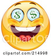 Royalty Free RF Clipart Illustration Of A Greedy Emoticon With Dollar Symbol Eyes by yayayoyo