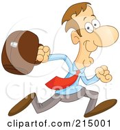 Royalty Free RF Clipart Illustration Of A Businessman Running In A Blue Shirt And Red Tie