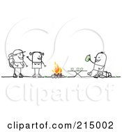 Royalty Free RF Clipart Illustration Of A Camping Couple Talking To A Man Drinking By A Fire