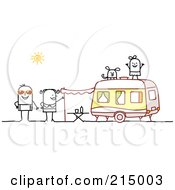 Royalty Free RF Clipart Illustration Of A Stick Family Camping With A Camper