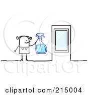 Royalty Free RF Clipart Illustration Of A Stick Woman Cleaning Windows