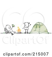Royalty Free RF Clipart Illustration Of A Camping Couple Around Their Campfire