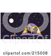 Royalty Free RF Clipart Illustration Of A Camping Couple Getting Frisky In Their Tent At Night