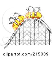 Royalty Free RF Clipart Illustration Of Stick People Riding A Roller Coaster