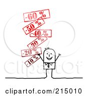 Royalty Free RF Clipart Illustration Of A Stick Business Man With Discount Prices by NL shop