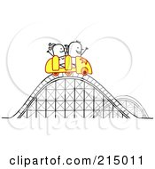 Royalty Free RF Clipart Illustration Of A Stick Couple Riding A Roller Coaster