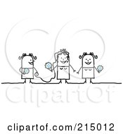 Royalty Free RF Clipart Illustration Of A Stick Woman Bride With Her Maid Of Honor And Bridesmaid by NL shop