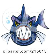 Royalty Free RF Clipart Illustration Of An Aggressive Blue And Purple Piranha Fish With Sharp Teeth