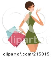 Royalty Free RF Clipart Illustration Of A Short Haired Woman Shopping In A Green Dress From The Knees Up