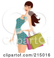 Royalty Free RF Clipart Illustration Of A Woman Shopping In A Polka Dot Dress From The Knees Up