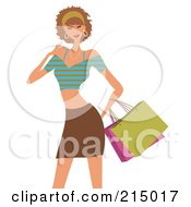 Royalty Free RF Clipart Illustration Of A Woman Shopping In A Brown Skirt And Crop Top From The Knees Up