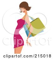 Royalty Free RF Clipart Illustration Of A Sexy Brunette Woman Shopping In A Pink Dress From The Knees Up