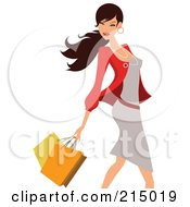 Royalty Free RF Clipart Illustration Of A Woman Shopping In A Gray Dress And Red Blazer From The Knees Up