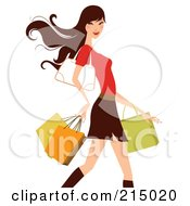 Royalty Free RF Clipart Illustration Of A Woman Shopping In A Skirt And Red Shirt From The Knees Up
