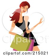 Royalty Free RF Clipart Illustration Of A Woman Shopping In A Black Dress