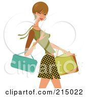 Royalty Free RF Clipart Illustration Of A Woman Shopping In A Skirt And Green Shirt From The Knees Up
