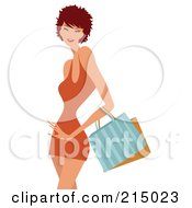Royalty Free RF Clipart Illustration Of A Short Haired Woman Shopping In An Orange Dress From The Knees Up