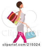 Royalty Free RF Clipart Illustration Of A Woman Shopping In Pink Leggings And A Striped Shirt From The Knees Up