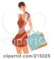 Royalty Free RF Clipart Illustration Of A Pretty Lady Shopping In An Orange Dress From The Knees Up