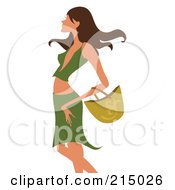 Royalty Free RF Clipart Illustration Of A Sexy Woman Shopping In A Green Skirt And Shirt From The Knees Up