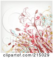 Royalty Free RF Clipart Illustration Of A Bird On A Daisy And Lily Pattern Over Off White by OnFocusMedia