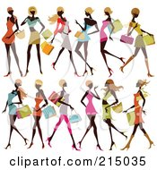 Royalty Free RF Clipart Illustration Of A Digital Collage Of Black Fashionable Ladies Shopping