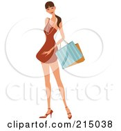 Royalty Free RF Clipart Illustration Of A Pretty Lady Shopping In An Orange Dress Full Body