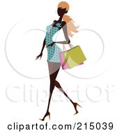 Royalty Free RF Clipart Illustration Of A Black Woman Woman Shopping In A Polka Dot Dress by OnFocusMedia