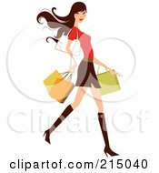 Royalty Free RF Clipart Illustration Of A Woman Shopping In A Skirt And Red Shirt Full Body