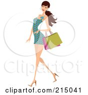 Royalty Free RF Clipart Illustration Of A Woman Shopping In A Polka Dot Dress Full Body by OnFocusMedia